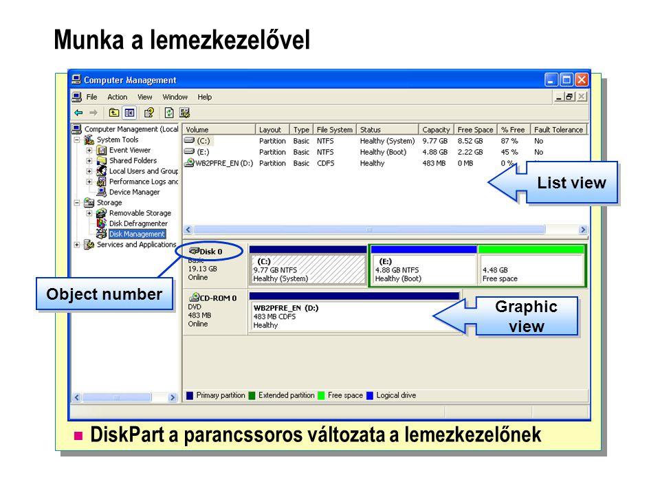 Munka a lemezkezelővel  DiskPart a parancssoros változata a lemezkezelőnek List view Graphic view Object number