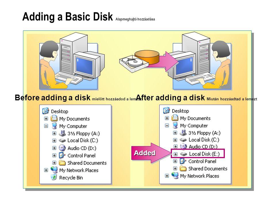 Adding a Basic Disk Alapmeghajtó hozzáadása Before adding a disk mielőtt hozzáadod a lemezt After adding a disk Miután hozzáadtad a lemezt AddedAdded