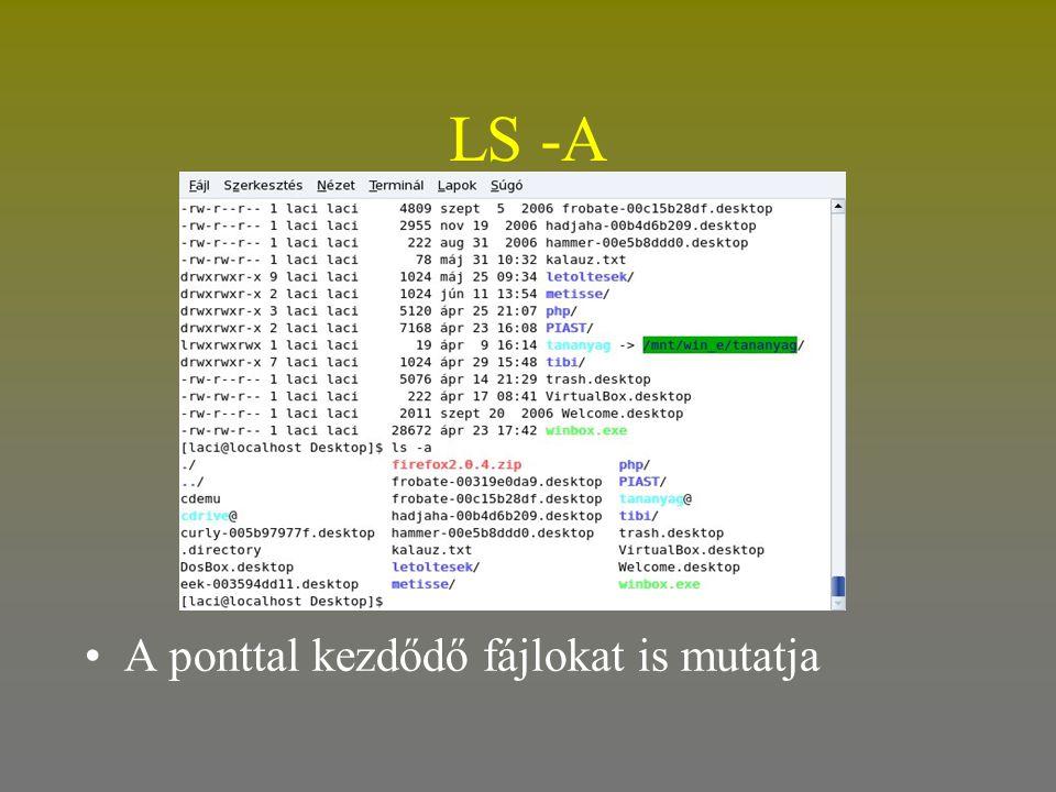 LS -A •A ponttal kezdődő fájlokat is mutatja