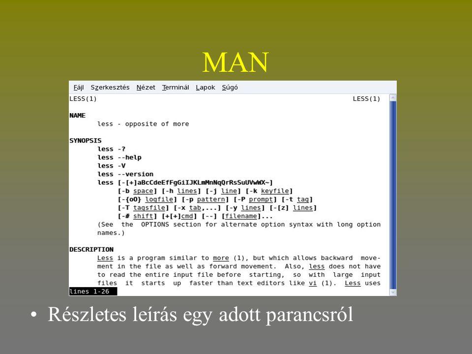MAN •Részletes leírás egy adott parancsról