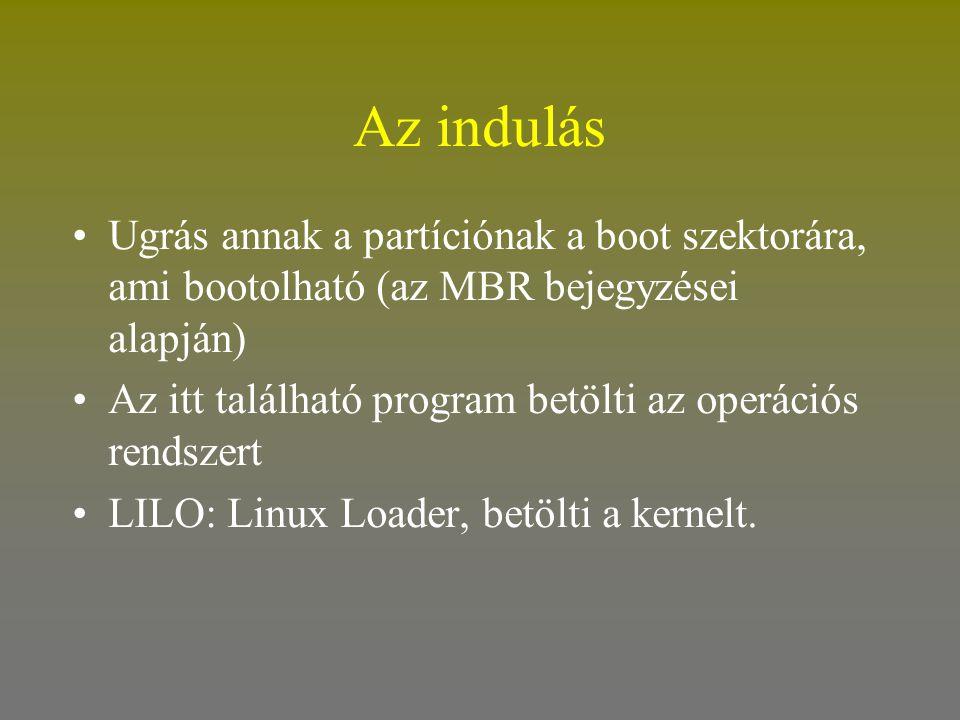 Az indulás •Ugrás annak a partíciónak a boot szektorára, ami bootolható (az MBR bejegyzései alapján) •Az itt található program betölti az operációs re