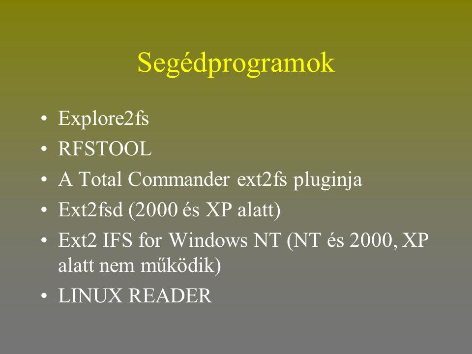 Segédprogramok •Explore2fs •RFSTOOL •A Total Commander ext2fs pluginja •Ext2fsd (2000 és XP alatt) •Ext2 IFS for Windows NT (NT és 2000, XP alatt nem