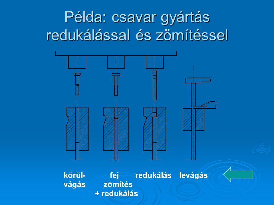 Példa: csavar gyártás redukálással és zömítéssel körül- fej redukálás levágás vágás zömítés + redukálás