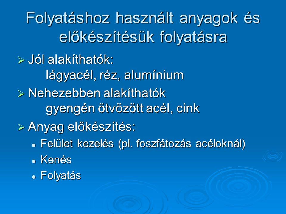 Folyatáshoz használt anyagok és előkészítésük folyatásra  Jól alakíthatók: lágyacél, réz, alumínium  Nehezebben alakíthatók gyengén ötvözött acél, cink  Anyag előkészítés:  Felület kezelés (pl.