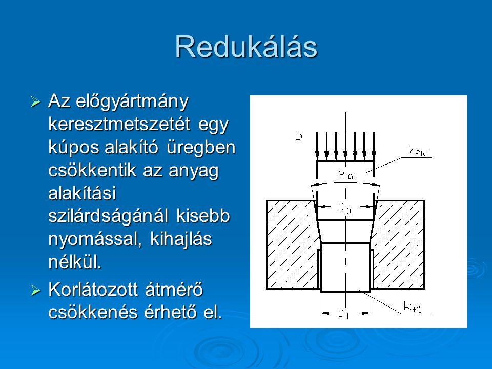 Redukálás  Az előgyártmány keresztmetszetét egy kúpos alakító üregben csökkentik az anyag alakítási szilárdságánál kisebb nyomással, kihajlás nélkül.