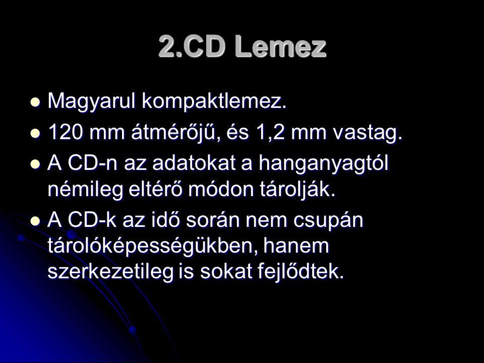 2.CD Lemez  Magyarul kompaktlemez.  120 mm átmérőjű, és 1,2 mm vastag.  A CD-n az adatokat a hanganyagtól némileg eltérő módon tárolják.  A CD-k a