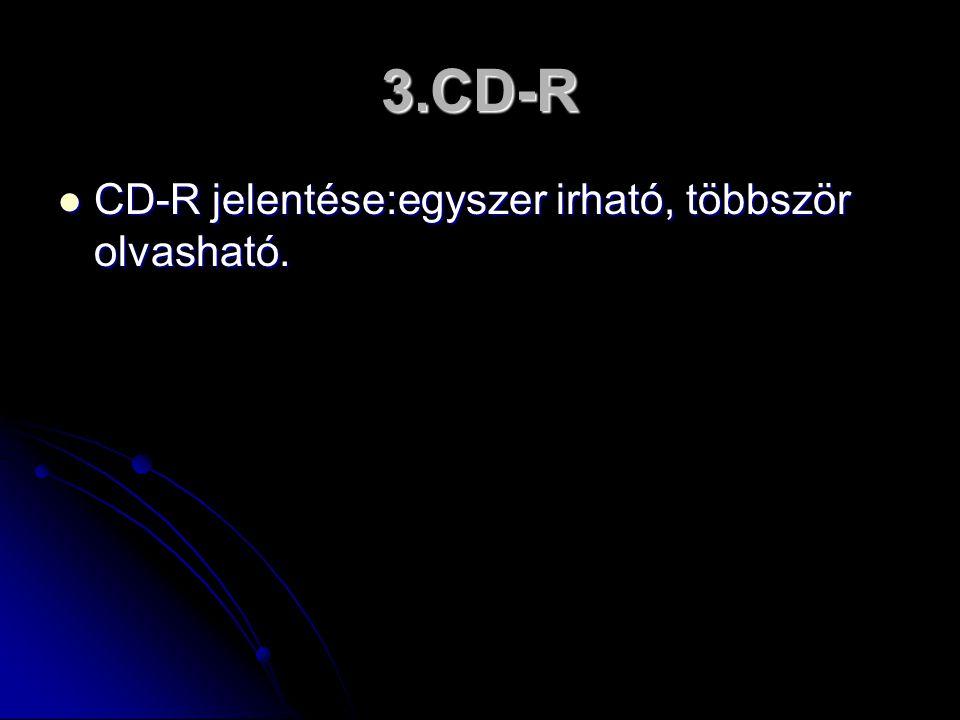 3.CD-R  CD-R jelentése:egyszer irható, többször olvasható.  CD-R jelentése:egyszer irható, többször olvasható.
