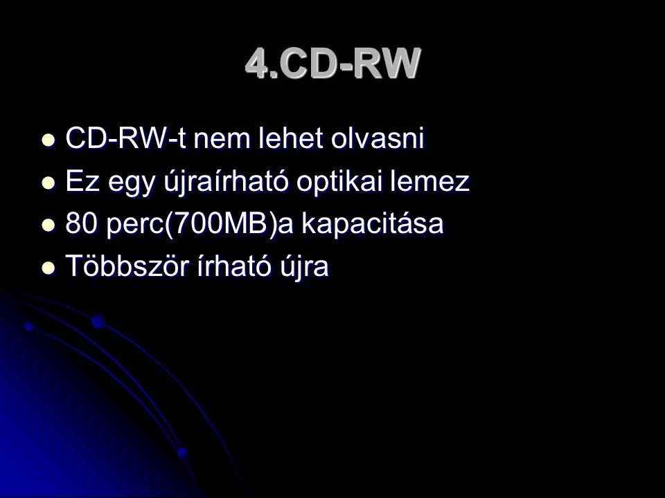 4.CD-RW  CD-RW-t nem lehet olvasni  CD-RW-t nem lehet olvasni  Ez egy újraírható optikai lemez  80 perc(700MB)a kapacitása  Többször írható újra