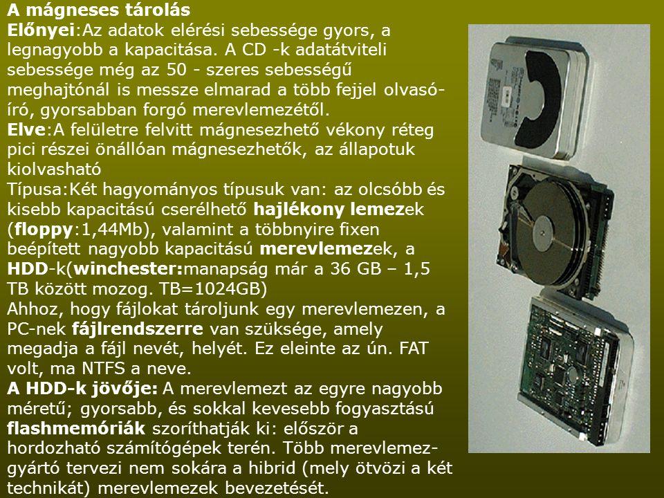 A mágneses tárolás Előnyei:Az adatok elérési sebessége gyors, a legnagyobb a kapacitása. A CD -k adatátviteli sebessége még az 50 - szeres sebességű m