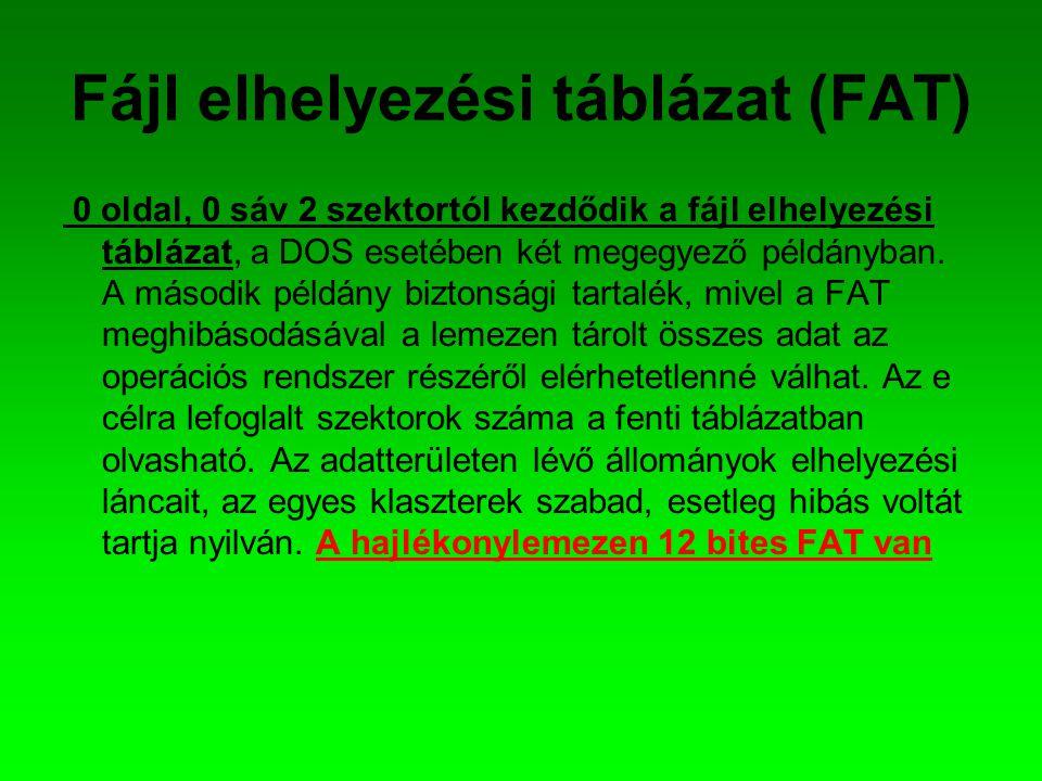 Fájl elhelyezési táblázat (FAT) 0 oldal, 0 sáv 2 szektortól kezdődik a fájl elhelyezési táblázat, a DOS esetében két megegyező példányban. A második p