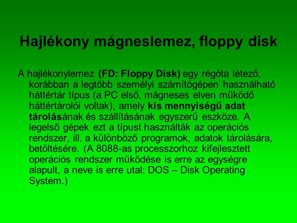 Hajlékony mágneslemez, floppy disk A hajlékonylemez (FD: Floppy Disk) egy régóta létező, korábban a legtöbb személyi számítógépen használható háttértá