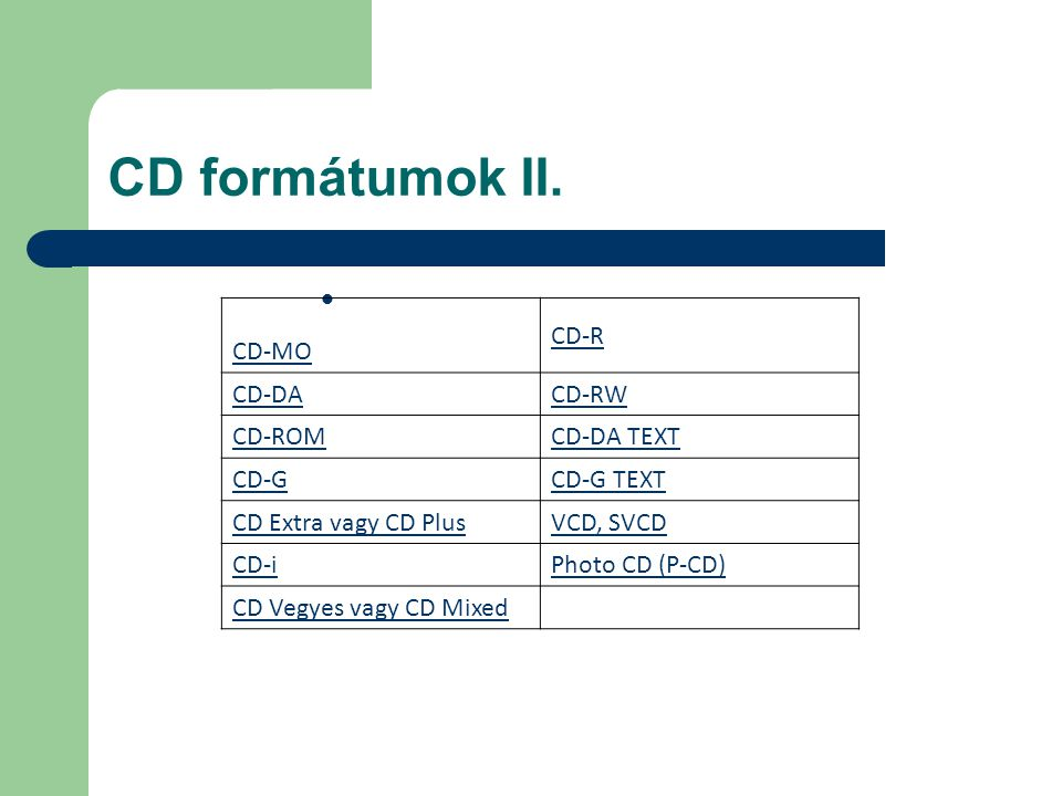 CD formátumok II. CD-MO CD-R CD-DACD-RW CD-ROMCD-DA TEXT CD-GCD-G TEXT CD Extra vagy CD PlusVCD, SVCD CD-iPhoto CD (P-CD) CD Vegyes vagy CD Mixed