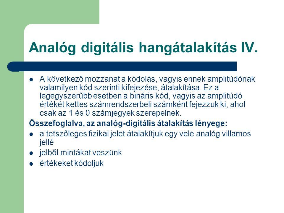 Analóg digitális hangátalakítás IV.