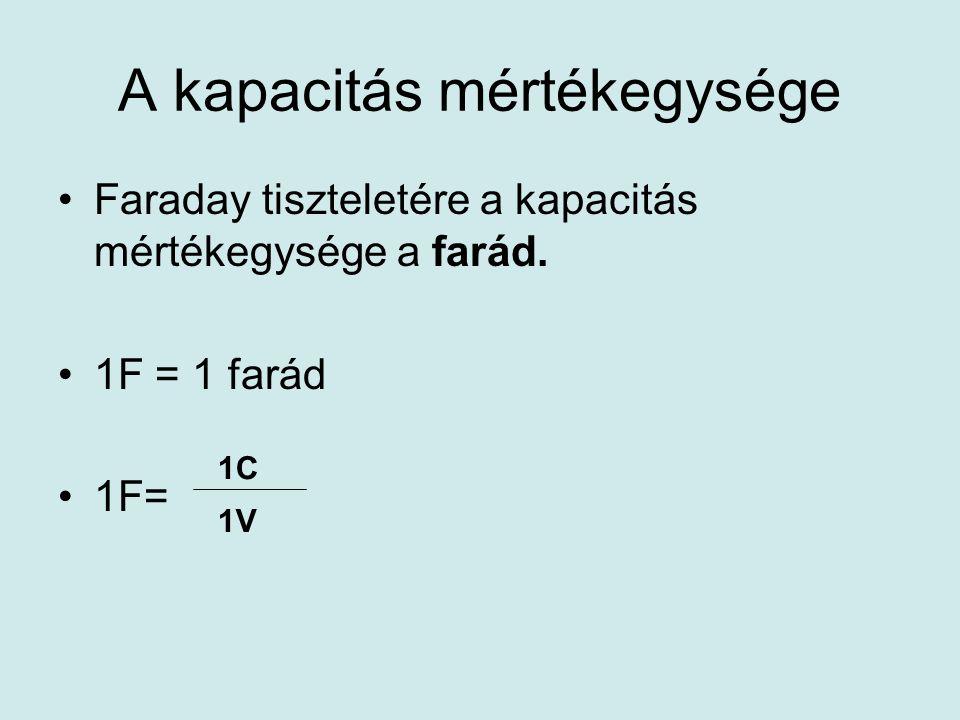 A kapacitás mértékegysége •Faraday tiszteletére a kapacitás mértékegysége a farád.