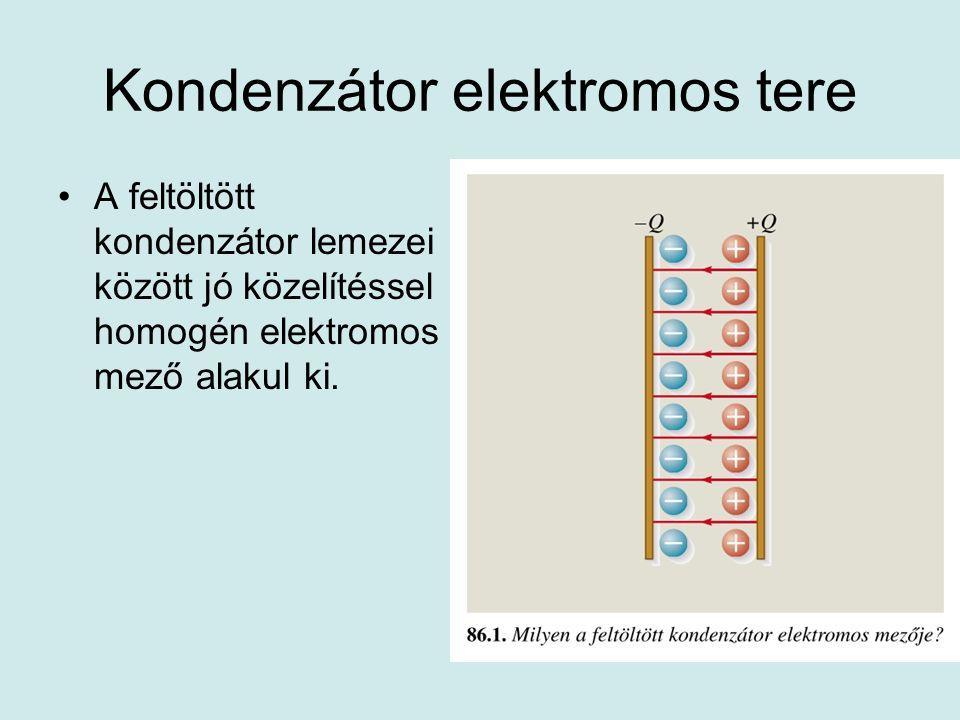 Kondenzátor elektromos tere •A feltöltött kondenzátor lemezei között jó közelítéssel homogén elektromos mező alakul ki.