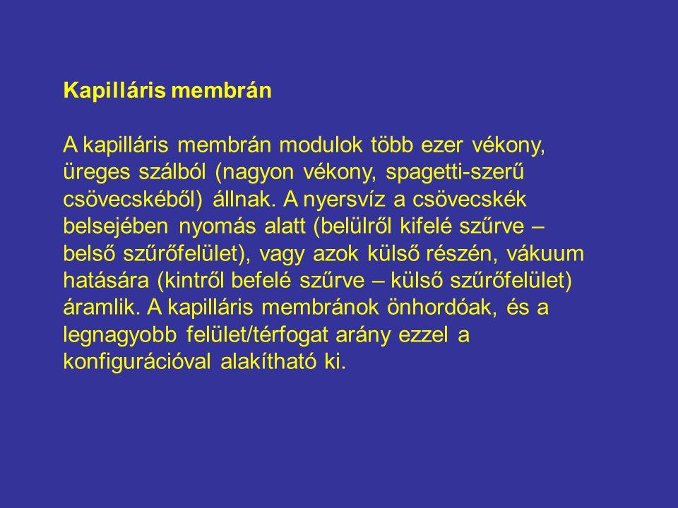 Kapilláris membrán A kapilláris membrán modulok több ezer vékony, üreges szálból (nagyon vékony, spagetti-szerű csövecskéből) állnak.