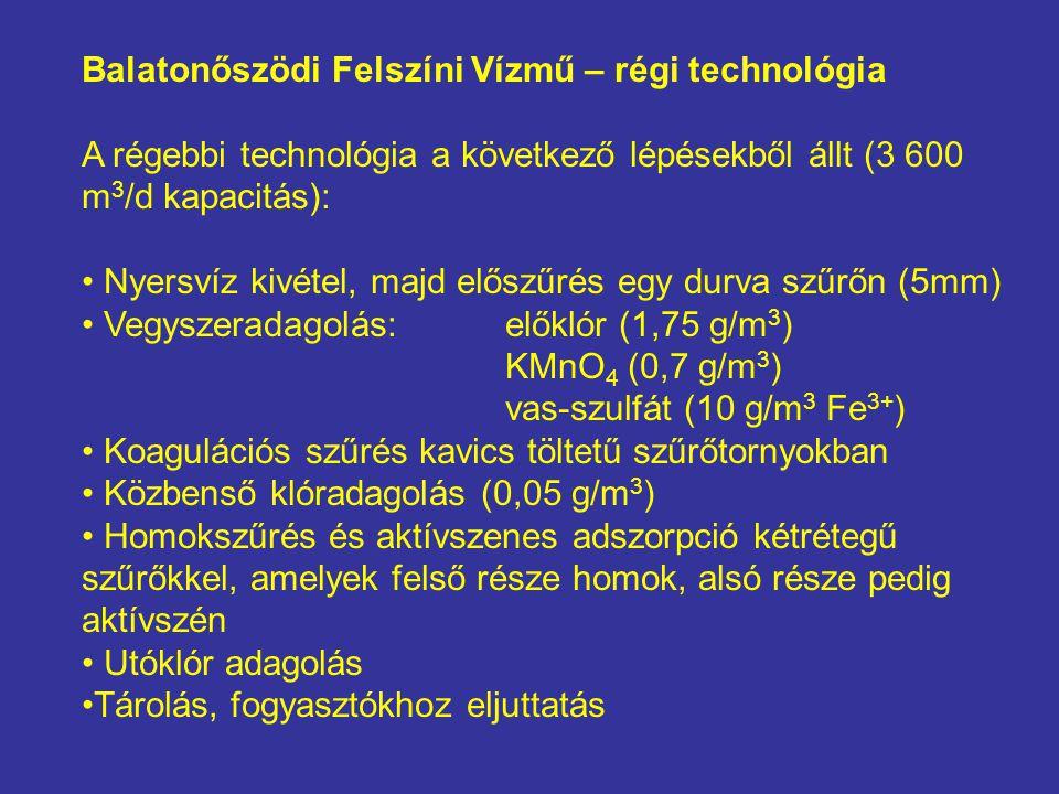 Balatonőszödi Felszíni Vízmű – régi technológia A régebbi technológia a következő lépésekből állt (3 600 m 3 /d kapacitás): • Nyersvíz kivétel, majd előszűrés egy durva szűrőn (5mm) • Vegyszeradagolás:előklór (1,75 g/m 3 ) KMnO 4 (0,7 g/m 3 ) vas-szulfát (10 g/m 3 Fe 3+ ) • Koagulációs szűrés kavics töltetű szűrőtornyokban • Közbenső klóradagolás (0,05 g/m 3 ) • Homokszűrés és aktívszenes adszorpció kétrétegű szűrőkkel, amelyek felső része homok, alsó része pedig aktívszén • Utóklór adagolás •Tárolás, fogyasztókhoz eljuttatás