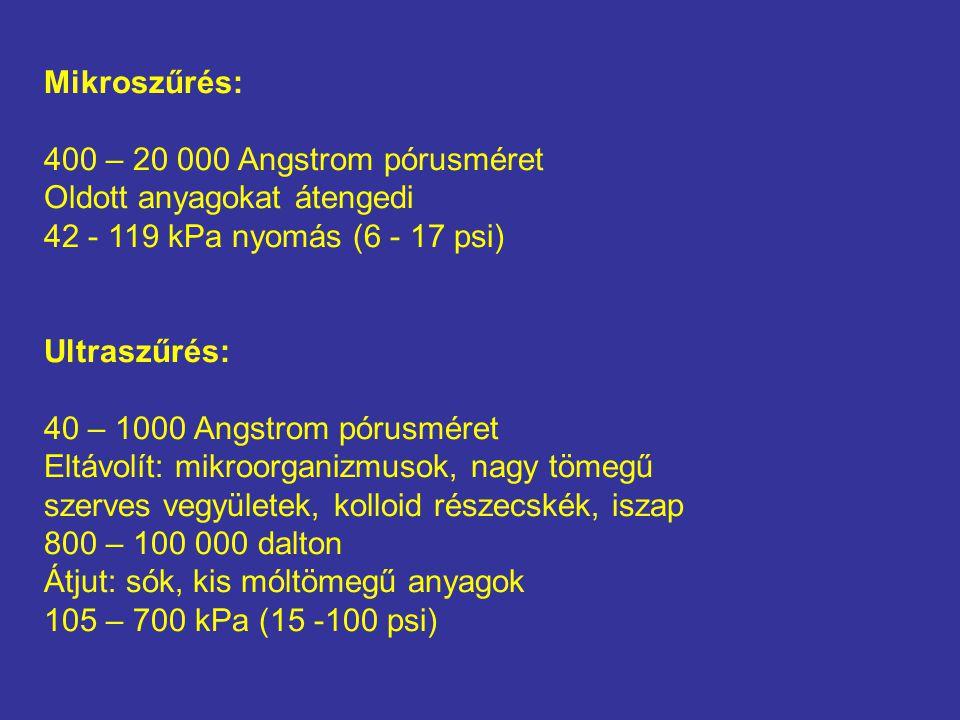 Mikroszűrés: 400 – 20 000 Angstrom pórusméret Oldott anyagokat átengedi 42 - 119 kPa nyomás (6 - 17 psi) Ultraszűrés: 40 – 1000 Angstrom pórusméret Eltávolít: mikroorganizmusok, nagy tömegű szerves vegyületek, kolloid részecskék, iszap 800 – 100 000 dalton Átjut: sók, kis móltömegű anyagok 105 – 700 kPa (15 -100 psi)