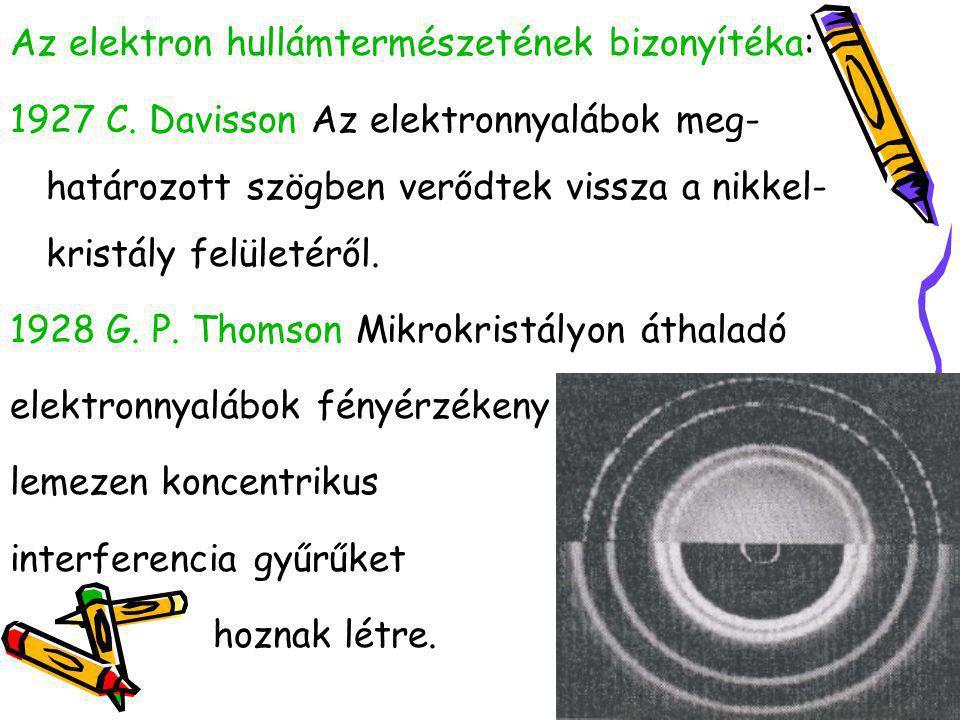 Az elektron hullámtermészetének bizonyítéka: 1927 C. Davisson Az elektronnyalábok meg- határozott szögben verődtek vissza a nikkel- kristály felületér