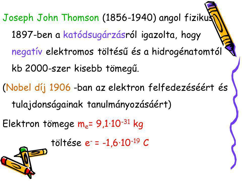 Joseph John Thomson (1856-1940) angol fizikus 1897-ben a katódsugárzásról igazolta, hogy negatív elektromos töltésű és a hidrogénatomtól kb 2000-szer