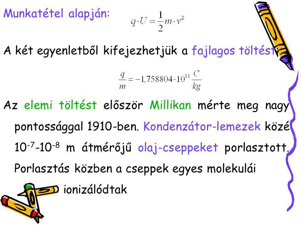 Munkatétel alapján: A két egyenletből kifejezhetjük a fajlagos töltést: Az elemi töltést először Millikan mérte meg nagy pontossággal 1910-ben. Konden