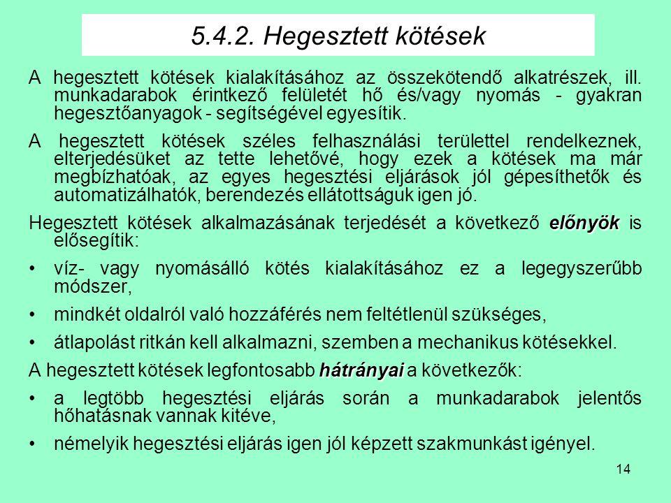 14 5.4.2.Hegesztett kötések A hegesztett kötések kialakításához az összekötendő alkatrészek, ill.