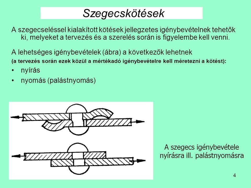 4 A szegecseléssel kialakított kötések jellegzetes igénybevételnek tehetők ki, melyeket a tervezés és a szerelés során is figyelembe kell venni.