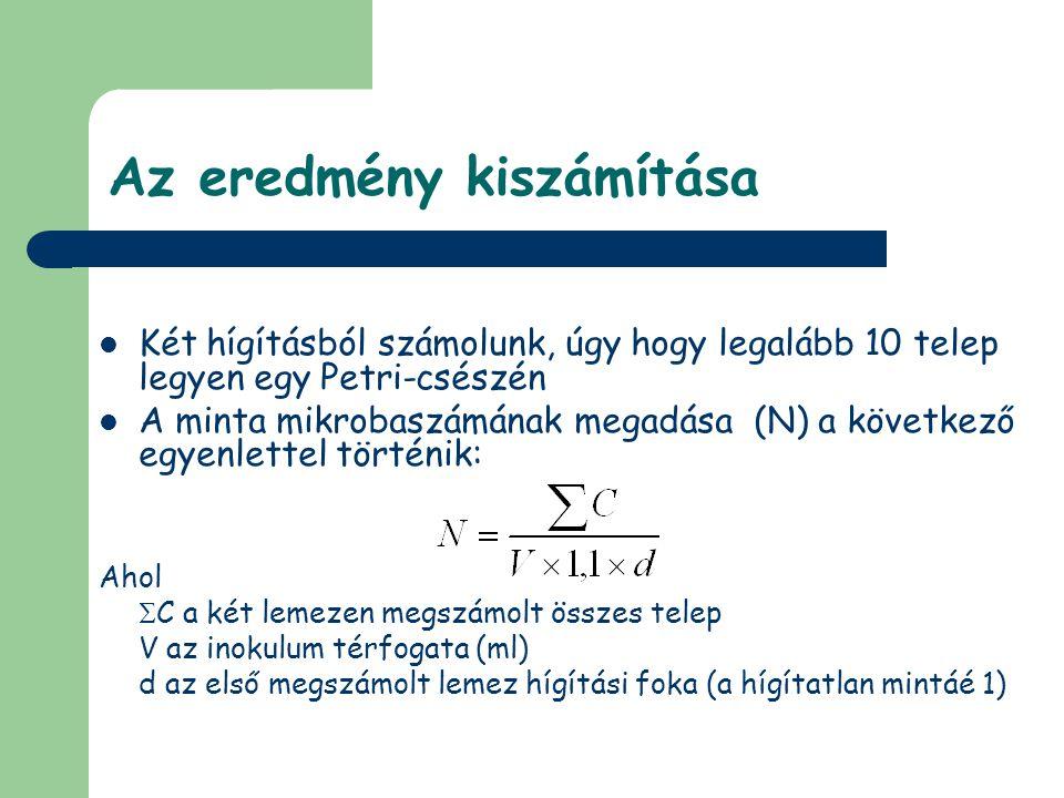 Az eredmény kiszámítása Példa: az első megszámolt hígításban (d=10 -2 ): 168 telep a második megszámolt hígításban: 20 telep Inokulum (V): 1 ml az eredmény: 1,7 x 10 4 cfu/g(ml)