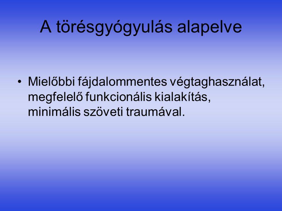 Velőűr szegzés •Az intramedullaris rögzítés biomechanikai szempontból előnyös, mert a velőűrszegnek csak sínező szerepe van, a teherviselést a csont végzi.