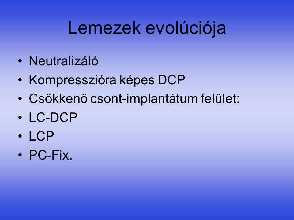Lemezek evolúciója •Neutralizáló •Kompresszióra képes DCP •Csökkenő csont-implantátum felület: •LC-DCP •LCP •PC-Fix.