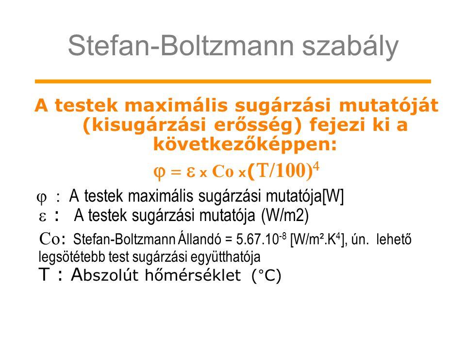 Stefan-Boltzmann szabály A testek maximális sugárzási mutatóját (kisugárzási erősség) fejezi ki a következőképpen:     x  Co  x (  /100)  