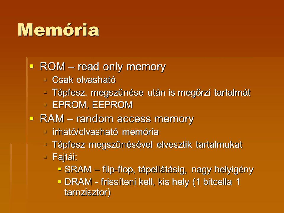 Memória  ROM – read only memory  Csak olvasható  Tápfesz.