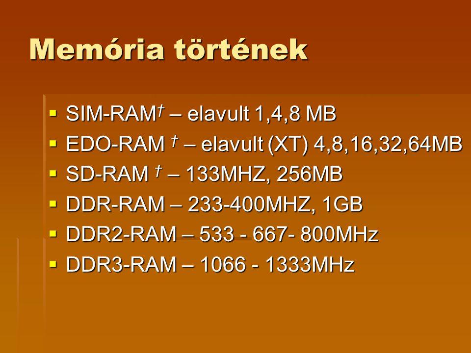 Memória történek  SIM-RAM † – elavult 1,4,8 MB  EDO-RAM † – elavult (XT) 4,8,16,32,64MB  SD-RAM † – 133MHZ, 256MB  DDR-RAM – 233-400MHZ, 1GB  DDR2-RAM – 533 - 667- 800MHz  DDR3-RAM – 1066 - 1333MHz