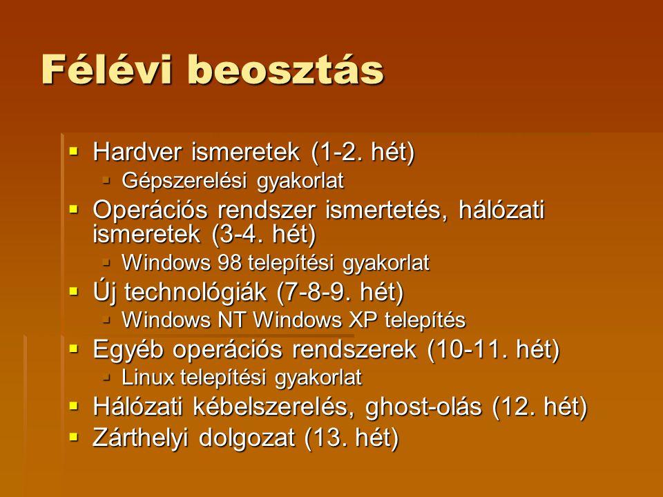 Félévi beosztás  Hardver ismeretek (1-2.
