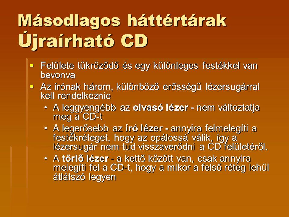 Másodlagos háttértárak Újraírható CD  Felülete tükröződő és egy különleges festékkel van bevonva  Az írónak három, különböző erősségű lézersugárral kell rendelkeznie •A leggyengébb az olvasó lézer - nem változtatja meg a CD-t •A legerősebb az író lézer - annyira felmelegíti a festékréteget, hogy az opálossá válik, így a lézersugár nem tud visszaverődni a CD felületéről.