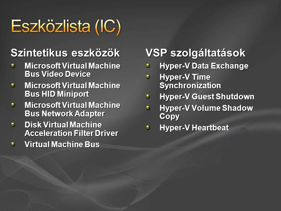 Szintetikus eszközök Microsoft Virtual Machine Bus Video Device Microsoft Virtual Machine Bus HID Miniport Microsoft Virtual Machine Bus Network Adapt