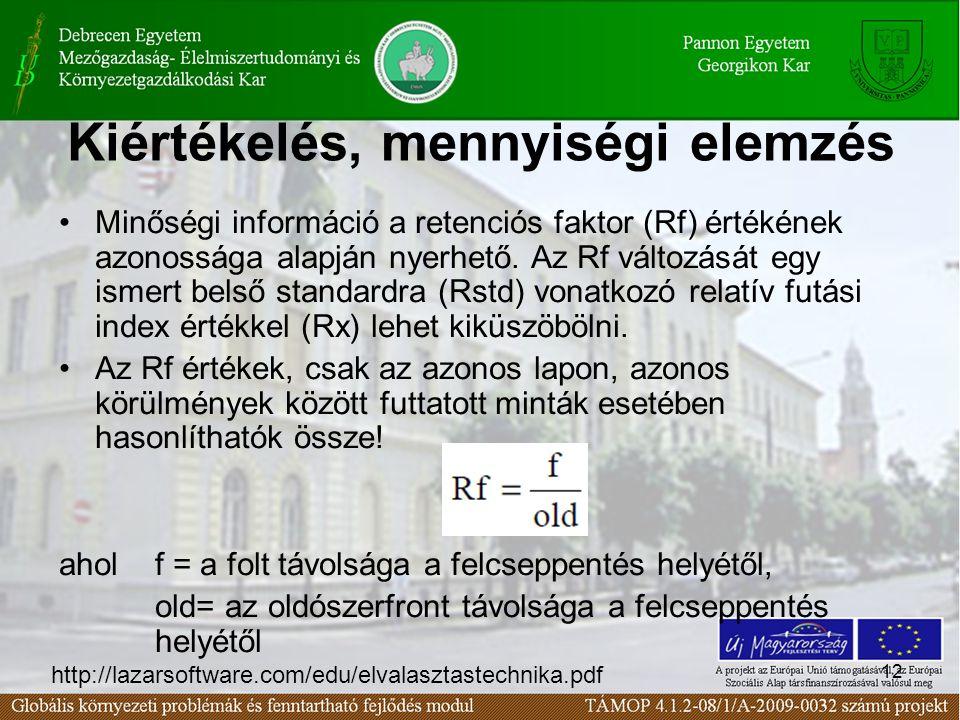 12 Kiértékelés, mennyiségi elemzés •Minőségi információ a retenciós faktor (Rf) értékének azonossága alapján nyerhető.