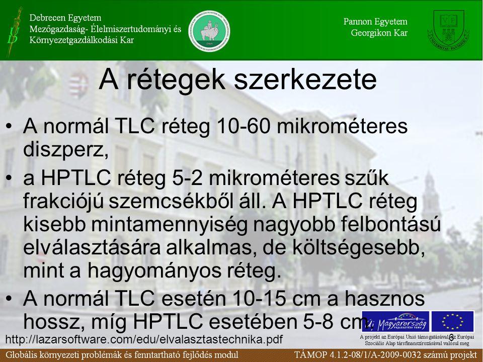 6 A rétegek szerkezete •A normál TLC réteg 10-60 mikrométeres diszperz, •a HPTLC réteg 5-2 mikrométeres szűk frakciójú szemcsékből áll.