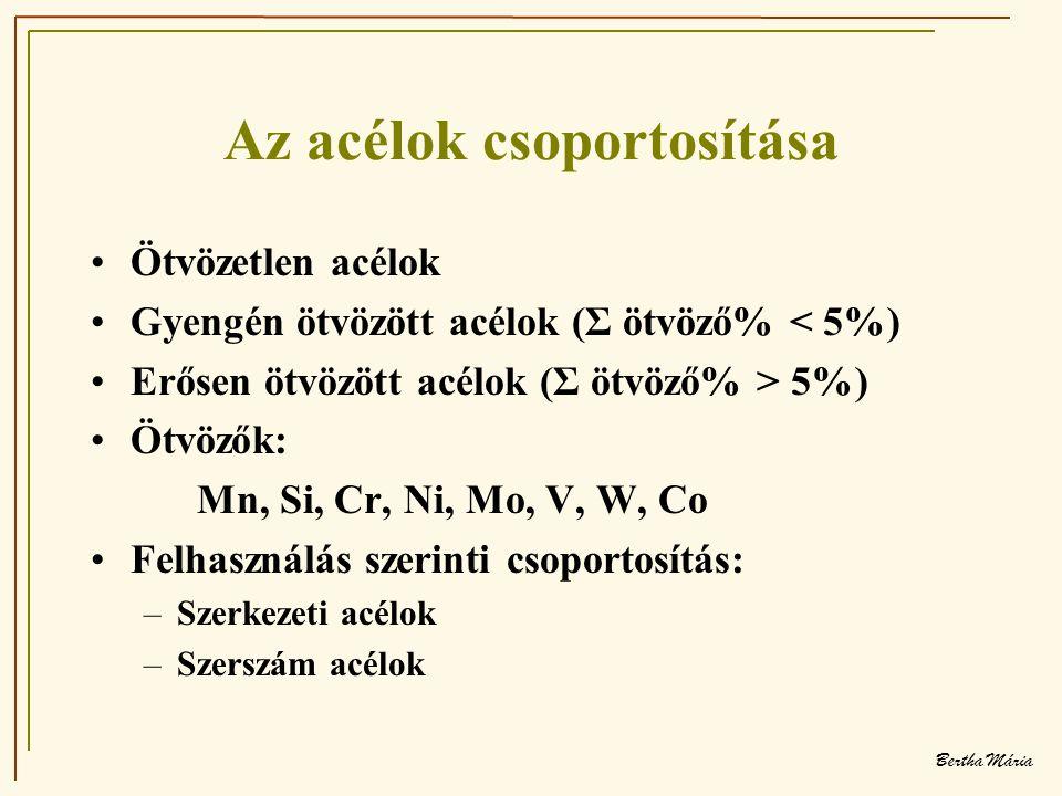 Bertha Mária Az acélok csoportosítása •Ötvözetlen acélok •Gyengén ötvözött acélok (Σ ötvöző% < 5%) •Erősen ötvözött acélok (Σ ötvöző% > 5%) •Ötvözők: Mn, Si, Cr, Ni, Mo, V, W, Co •Felhasználás szerinti csoportosítás: –Szerkezeti acélok –Szerszám acélok