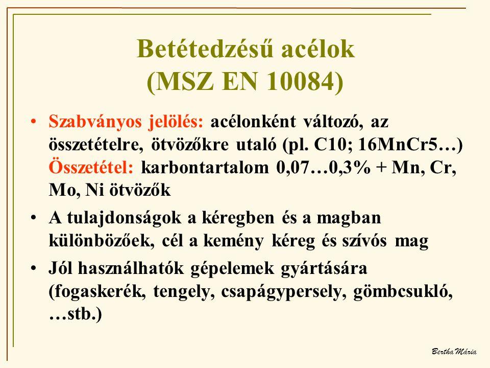 Bertha Mária Betétedzésű acélok (MSZ EN 10084) •Szabványos jelölés: acélonként változó, az összetételre, ötvözőkre utaló (pl.