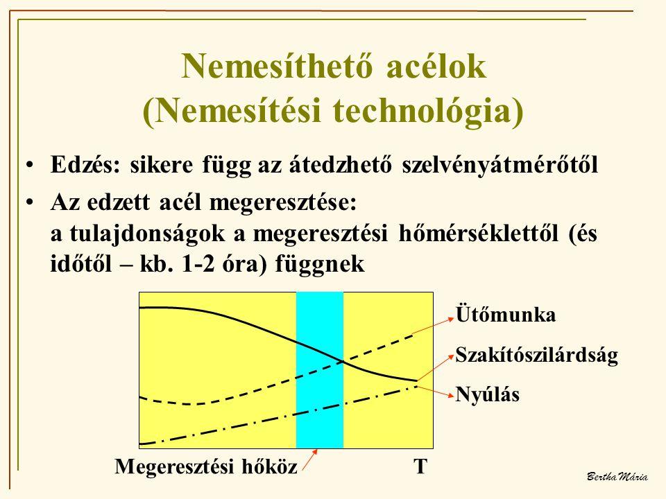 Bertha Mária Nemesíthető acélok (Nemesítési technológia) •Edzés: sikere függ az átedzhető szelvényátmérőtől •Az edzett acél megeresztése: a tulajdonságok a megeresztési hőmérséklettől (és időtől – kb.