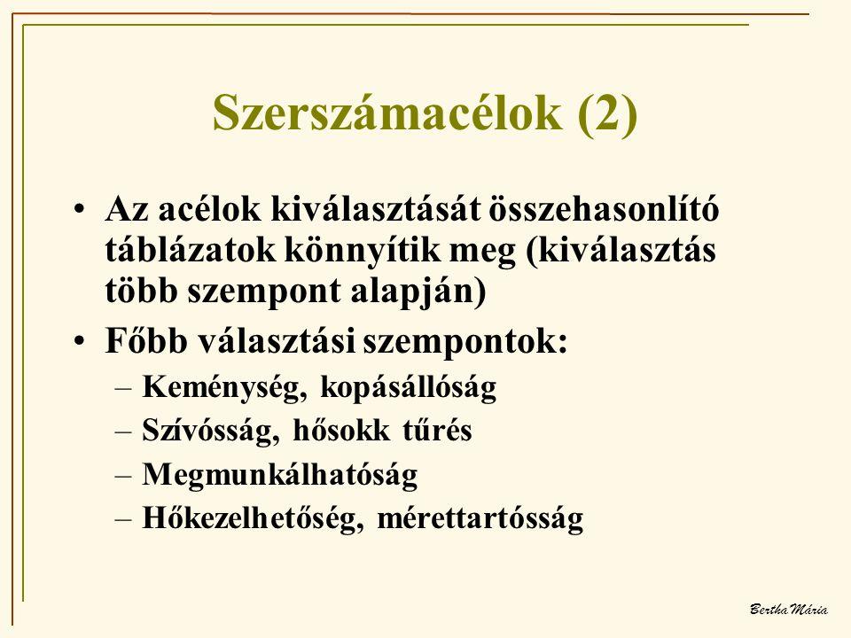 Bertha Mária Szerszámacélok (2) •Az acélok kiválasztását összehasonlító táblázatok könnyítik meg (kiválasztás több szempont alapján) •Főbb választási szempontok: –Keménység, kopásállóság –Szívósság, hősokk tűrés –Megmunkálhatóság –Hőkezelhetőség, mérettartósság