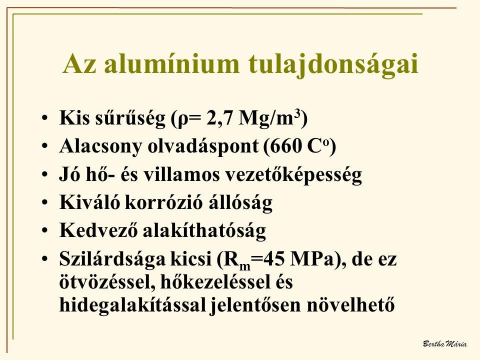 Bertha Mária Az alumínium tulajdonságai •Kis sűrűség (ρ= 2,7 Mg/m 3 ) •Alacsony olvadáspont (660 C o ) •Jó hő- és villamos vezetőképesség •Kiváló korrózió állóság •Kedvező alakíthatóság •Szilárdsága kicsi (R m =45 MPa), de ez ötvözéssel, hőkezeléssel és hidegalakítással jelentősen növelhető