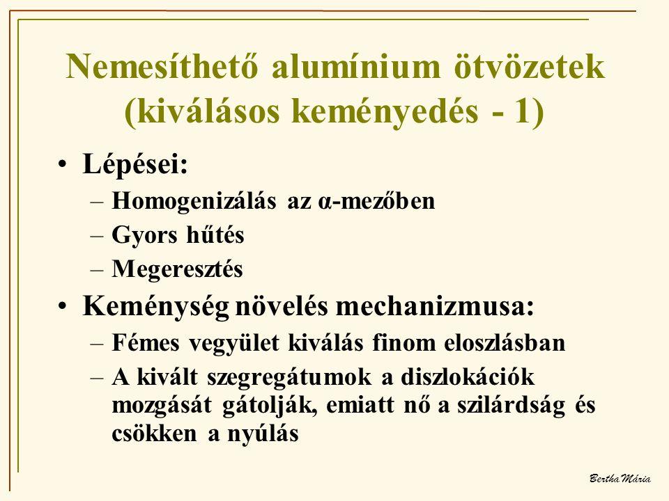 Bertha Mária Nemesíthető alumínium ötvözetek (kiválásos keményedés - 1) •Lépései: –Homogenizálás az α-mezőben –Gyors hűtés –Megeresztés •Keménység növelés mechanizmusa: –Fémes vegyület kiválás finom eloszlásban –A kivált szegregátumok a diszlokációk mozgását gátolják, emiatt nő a szilárdság és csökken a nyúlás