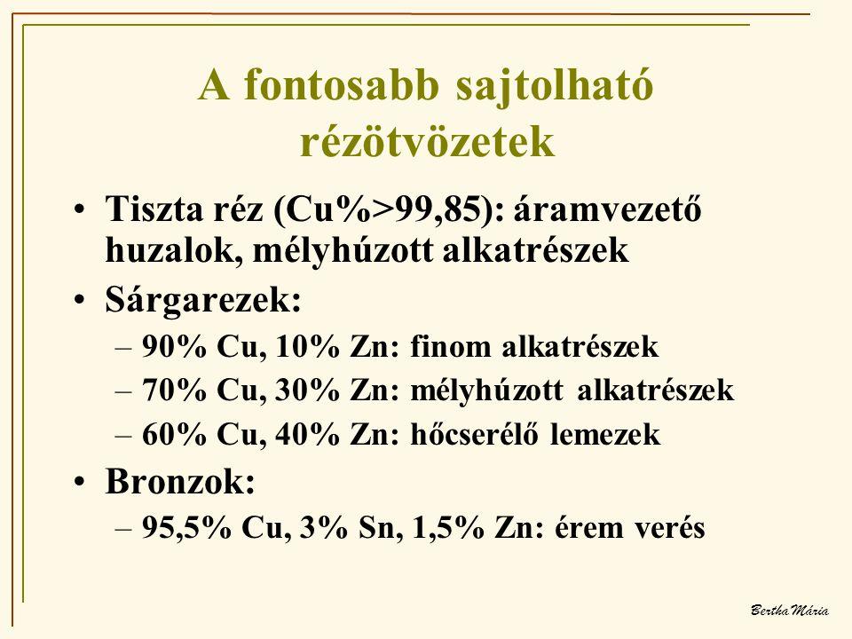 Bertha Mária A fontosabb sajtolható rézötvözetek •Tiszta réz (Cu%>99,85): áramvezető huzalok, mélyhúzott alkatrészek •Sárgarezek: –90% Cu, 10% Zn: finom alkatrészek –70% Cu, 30% Zn: mélyhúzott alkatrészek –60% Cu, 40% Zn: hőcserélő lemezek •Bronzok: –95,5% Cu, 3% Sn, 1,5% Zn: érem verés