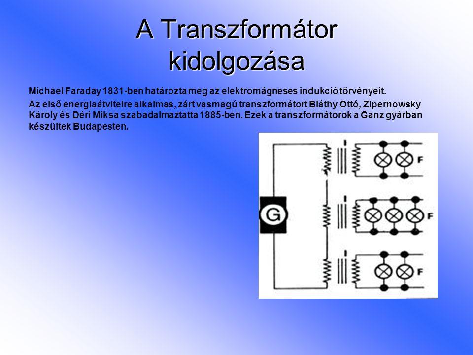 A Transzformátor kidolgozása Michael Faraday 1831-ben határozta meg az elektromágneses indukció törvényeit. Az első energiaátvitelre alkalmas, zárt va