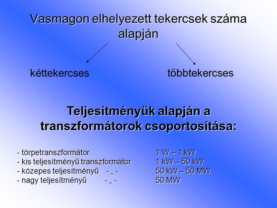 Vasmagon elhelyezett tekercsek száma alapján többtekercses kéttekercses Teljesítményük alapján a transzformátorok csoportosítása: - törpetranszformáto