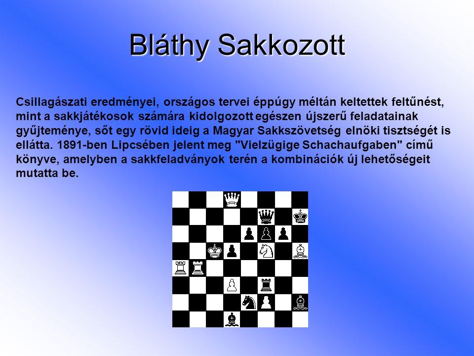 Bláthy Sakkozott Csillagászati eredményei, országos tervei éppúgy méltán keltettek feltűnést, mint a sakkjátékosok számára kidolgozott egészen újszerű