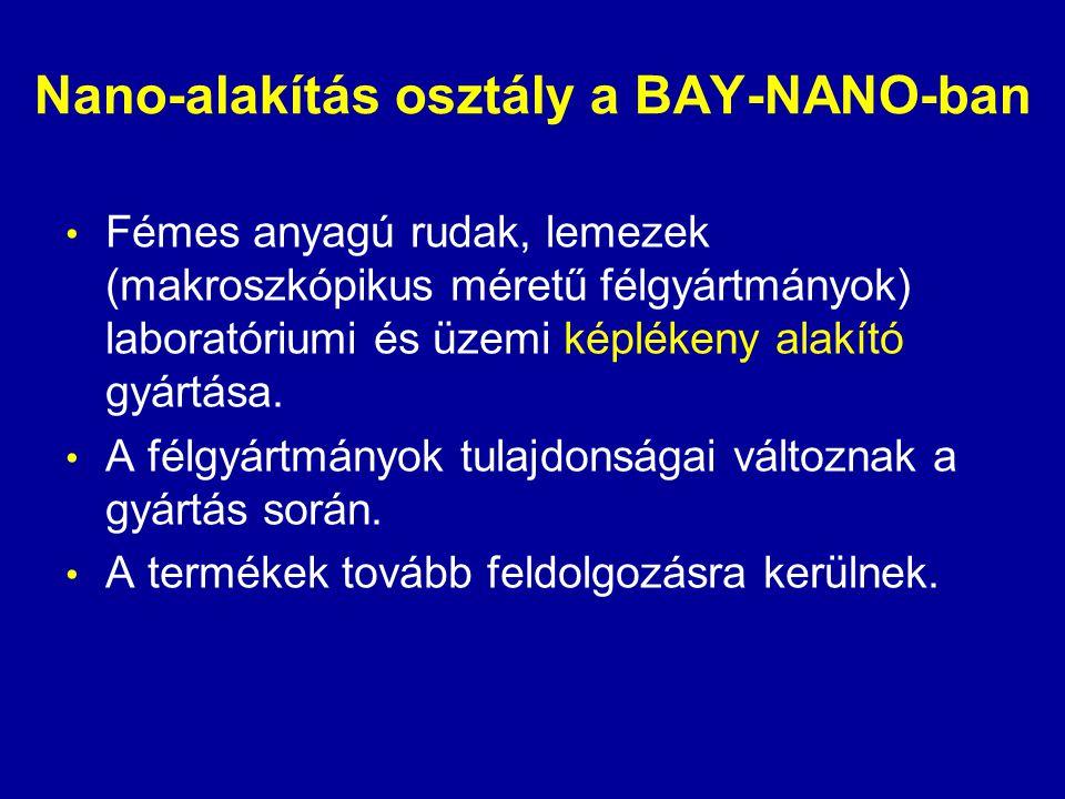 Nano-alakítás osztály a BAY-NANO-ban • Fémes anyagú rudak, lemezek (makroszkópikus méretű félgyártmányok) laboratóriumi és üzemi képlékeny alakító gyá