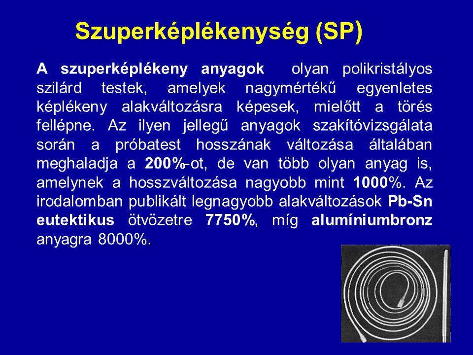 Szuperképlékenység (SP ). A szuperképlékeny anyagok olyan polikristályos szilárd testek, amelyek nagymértékű egyenletes képlékeny alakváltozásra képes